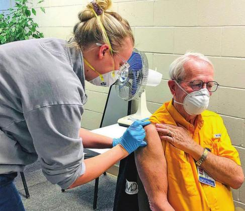 Dr. Bob Abernathy receives the first dose of the COVID-19 vaccine in Washita County. CONTRIBUTED PHOTO
