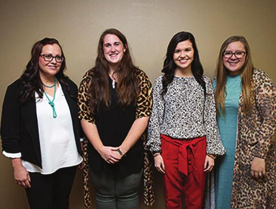 SWOSU teacher candidates Anna Hewitt, left, Bailey Thomas, Reagan Cabaniss, and Kaylee Smith began their practice teaching rotations Monday, Feb. 10. Photo courtesy of Jordan Selman.